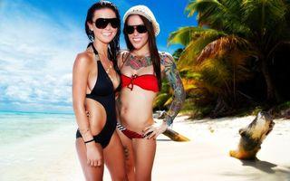 Фото бесплатно море, песок, татуировки