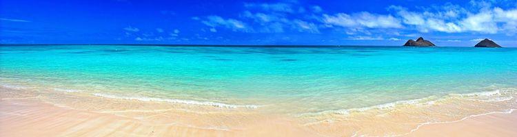Заставки море, пляж, солнечный, день, песок, синее, небо