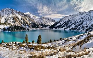 Бесплатные фото озеро,горы,снег,небо,облока,зима,природа
