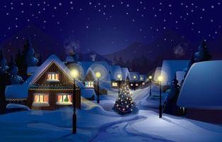 Фото бесплатно поселок, новогодний вечер, домики