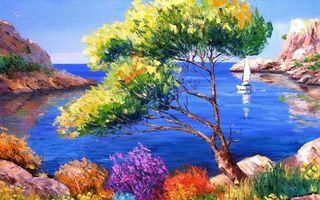 Бесплатные фото рисунок,картина,дерево,трава,камни,скалы,море