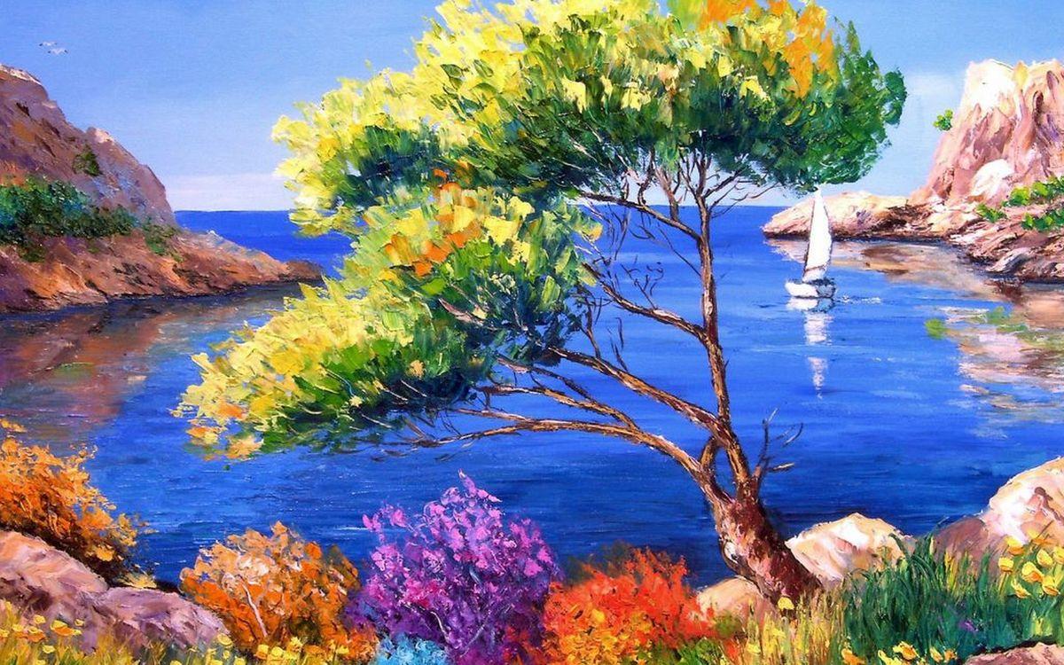 Фото бесплатно рисунок, картина, дерево, трава, камни, скалы, море, парусник, разное, разное - скачать на рабочий стол