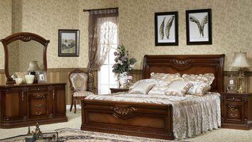 Бесплатные фото спальня,кровать,подушки,картины,зеркало,лампы,интерьер