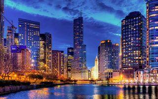 Бесплатные фото вечер,река,дома,небоскребы,улицы,фонари,свет