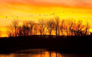 Заставки вечер, закат, оранжевый