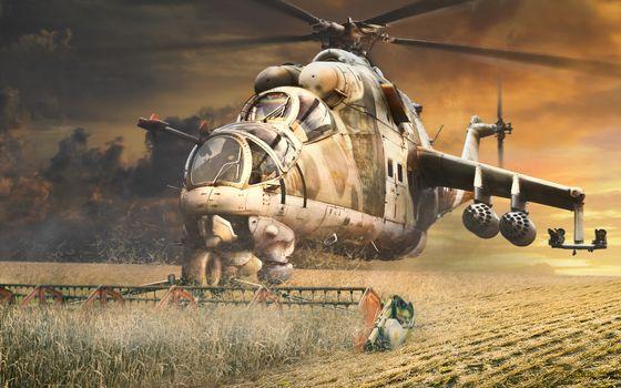 Фото бесплатно вертолет, жернова, солома
