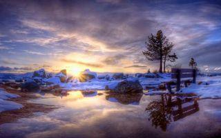 Фото бесплатно весна, снег, лужа