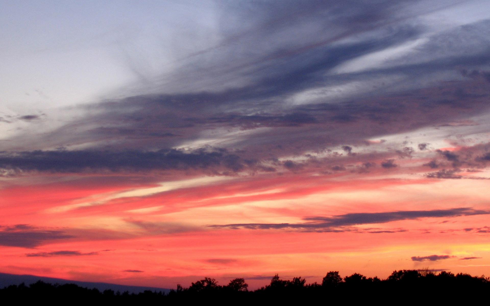 закат, небо, красное