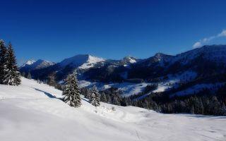 Бесплатные фото зима,снег,сугробы,следы,горы,деревья,небо