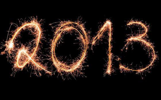 2013, надпись, фейерверк, огни, ночь