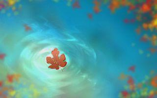 Бесплатные фото осень,листок,на воде,капельки воды,на листке,рисованное,рендеринг