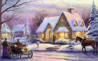 Фото бесплатно art, christmas, memories of christmas, snow, horse, winter, cottage, thomas kinkade, painting
