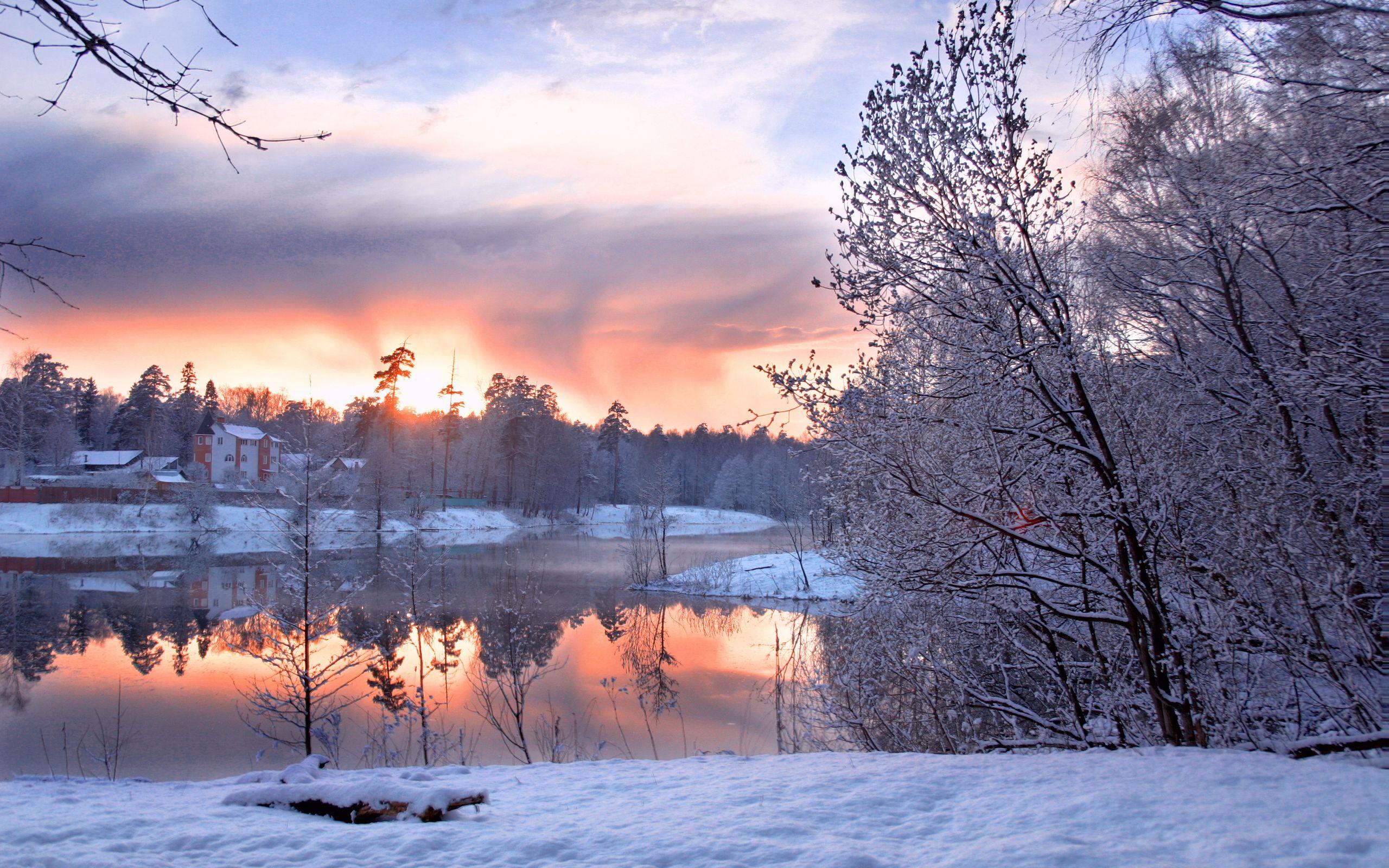 снег зима деревня рассвет  № 2479413  скачать