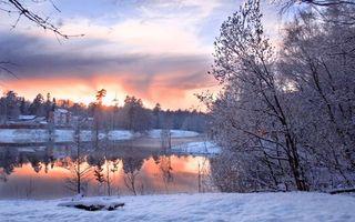 Бесплатные фото домики,холод,зима,снег,небо,сияние,горизонт