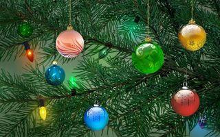 Бесплатные фото merry christmas,гирлянда,елка,новый год,шары