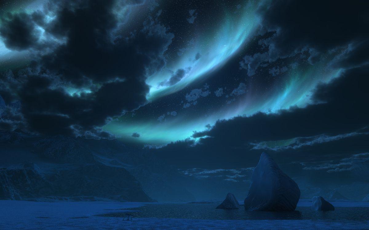 Фото бесплатно сияние, северное, лед - на рабочий стол
