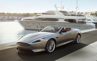 Заставки aston martin, серебро, кабриолет, причал, яхта, берег, машины