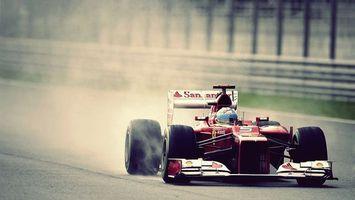 Обои авто, гонка, соревнование, шумахер, гонщик, феррари, красный, колесо, шлем, скорость, асфальт, машины
