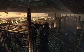 Бесплатные фото будущее,дома,высотки,окна,машины,самолеты,движение