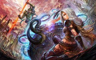 Бесплатные фото девушка,волосы,прическа,змей,меч,огонь,небо