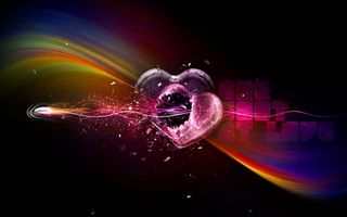 Бесплатные фото фон,черный,сердце,радуга,градиент,линии,узор