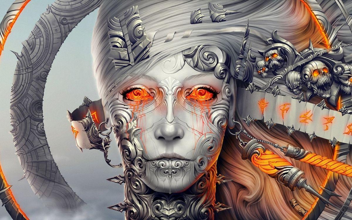 Фото бесплатно лицо, девушка, красные, глаза, волосы, черепа, 3d графика, 3d графика