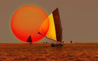 Бесплатные фото море,яхты,паруса,рисунок,солнце,большое,закат