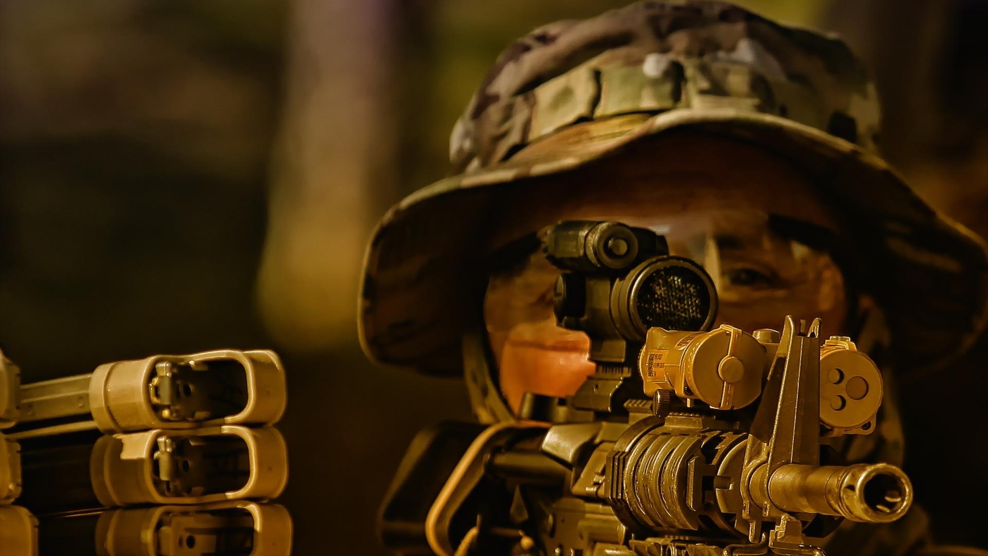 солдат, винтовка, прицел