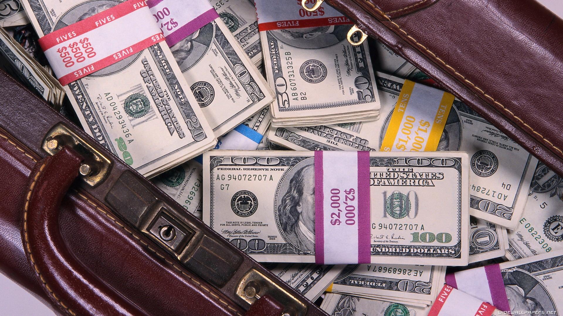 Обои сумка, набитая, деньгами, доллары