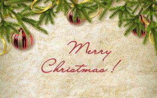 Фото бесплатно merry christmas, шары, елка, ветви, рождество, новый год