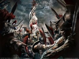 Бесплатные фото god of war,kratos,sword,sky,cloud,people,игры
