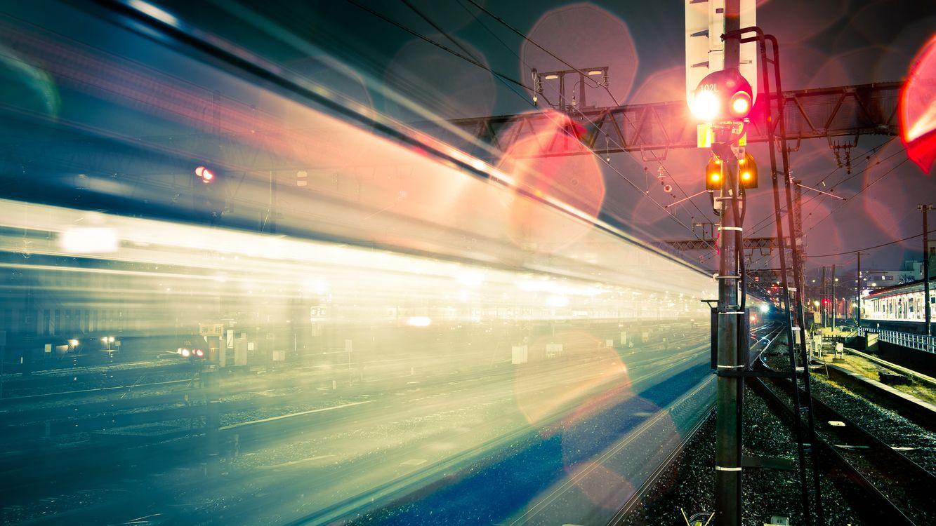 Фото бесплатно железная, дорога, рельсы, шпалы, светофор, щебень, ночь, пейзажи, пейзажи