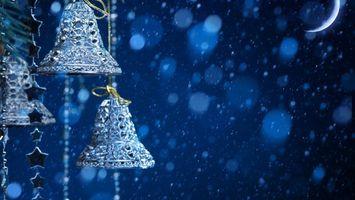 Заставки колокольчики, луна, звезды, снег, зима, мороз, новый год