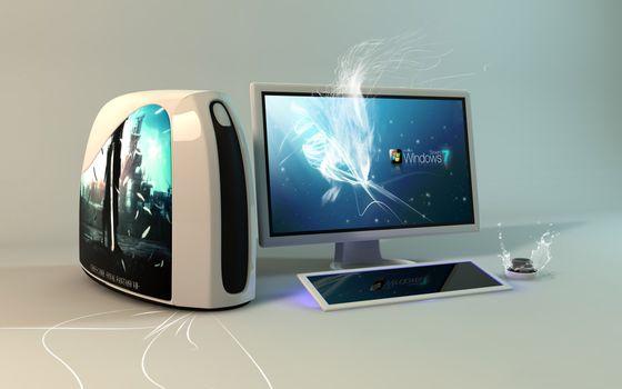 Фото бесплатно компьютер, монитор, сенсорная, клавиатура, операционка, windows 7, hi-tech