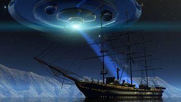 Бесплатные фото корабль,океан,летающая,тарелка,инопланетяне,похищение,айсберг
