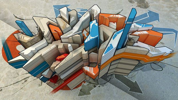 Бесплатные фото линии,стрелки,рисунок,графика,асфальт,полоски,синий,оранжевый,серый,3d графика