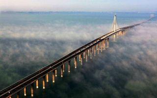 Фото бесплатно море, мост, туман