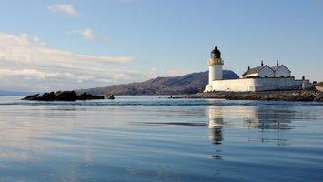 Фото бесплатно море, горы, маяк