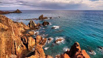 Фото бесплатно море, горы, волны