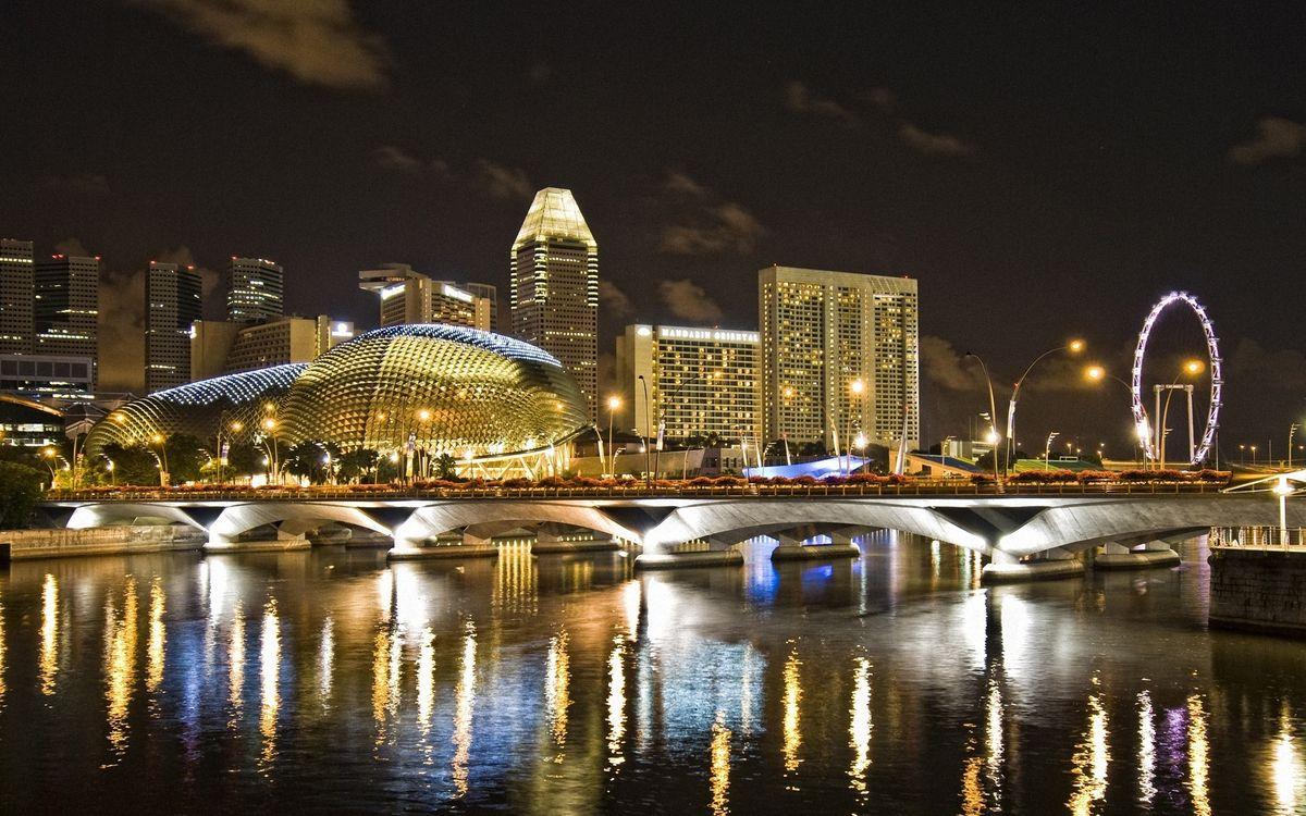Фото бесплатно мост, река, озеро, море, вода, отражение, колесо обозрения, город, город