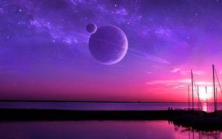 Фото бесплатно новые миры, планета, вода, океан, кислород, берег, мостик, спутник, кольца, звезды, космос