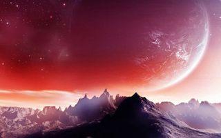 Бесплатные фото планета,горы,скалы,звезды,свет,зарево,космос