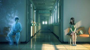 Бесплатные фото призрак,парень,девушка,больница,коридор,свет,фантастика