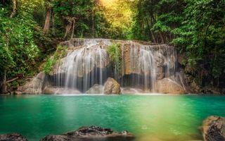 Фото бесплатно водопад, природа, листва