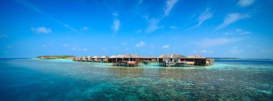 Фото бесплатно остров, бунгало, пейзажи