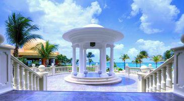 Фото бесплатно тропики, море, беседка