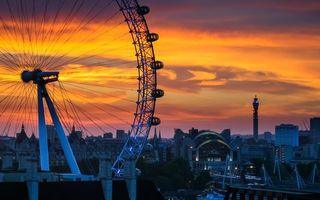 Бесплатные фото вечер,закат,дома,башня,колесо,обозрения,город