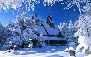 Бесплатные фото зима,снег,сугробы,деревья,иней,церковь,кресты