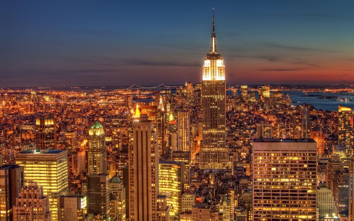 Фото бесплатно ночной город, америка, usa, штаты, нью-йорк, небоскребы, свет, ярко, как днем, город, город