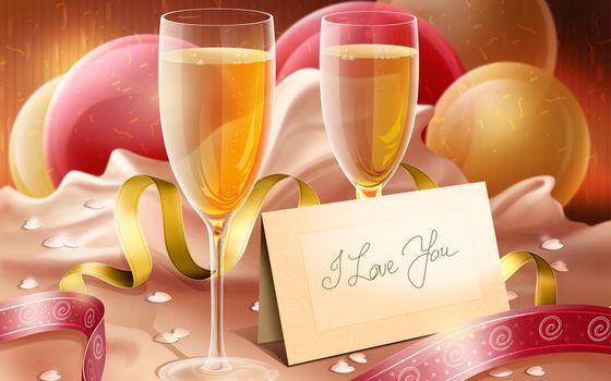 Бесплатные фото i love you,бокалы,шампанское,надпись